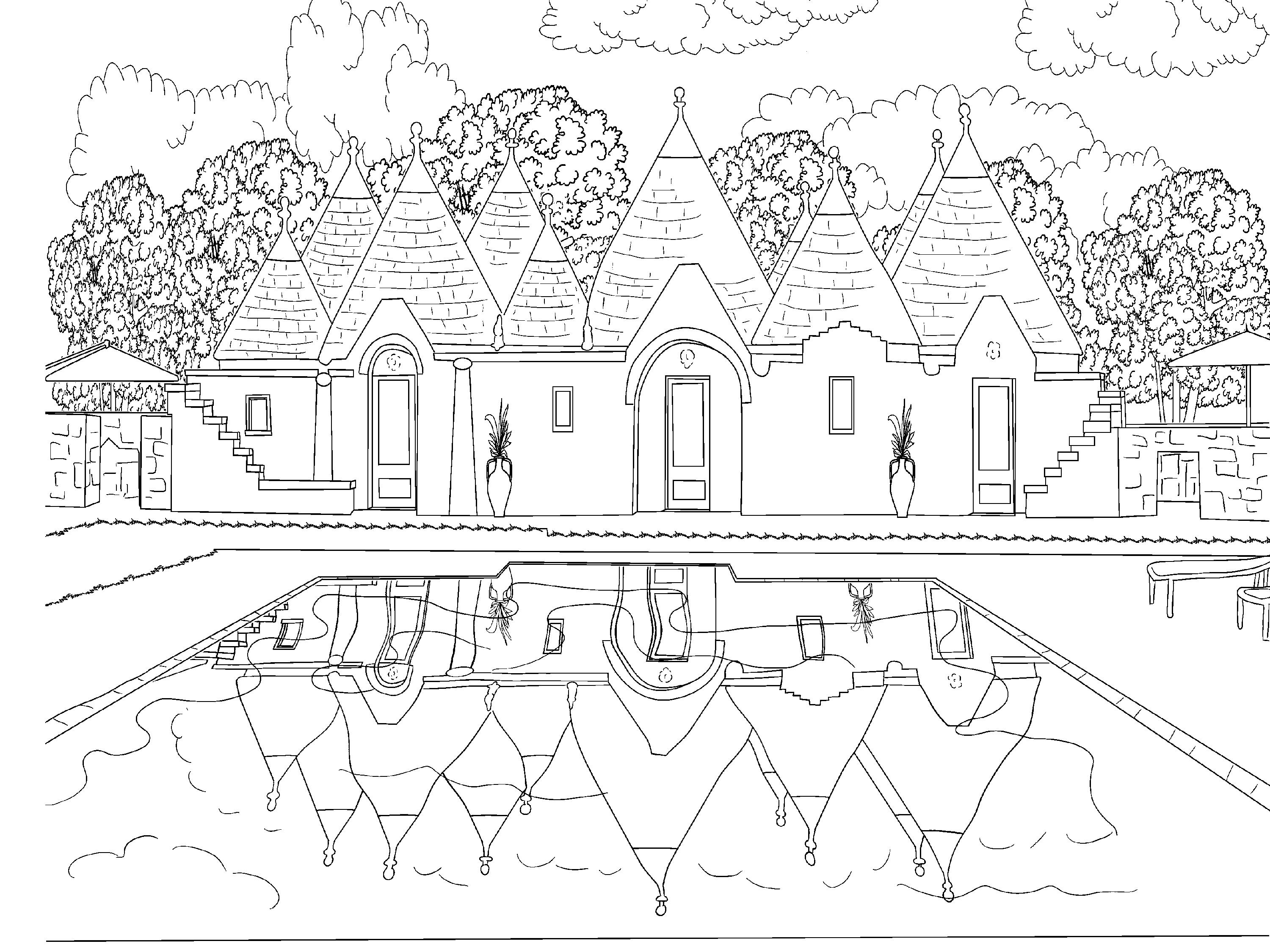 Travel Inspired Beautiful Scenery Colouring Pages for Grown Ups
