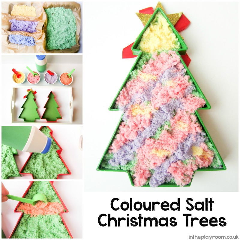 Coloured salt Christmas tree activity