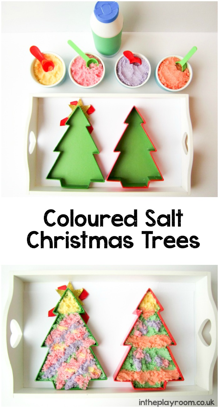 Coloured salt Christmas trees activity. Fun and creative sensory play