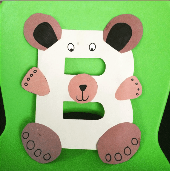 Letter B Bear alphabet craft for kids