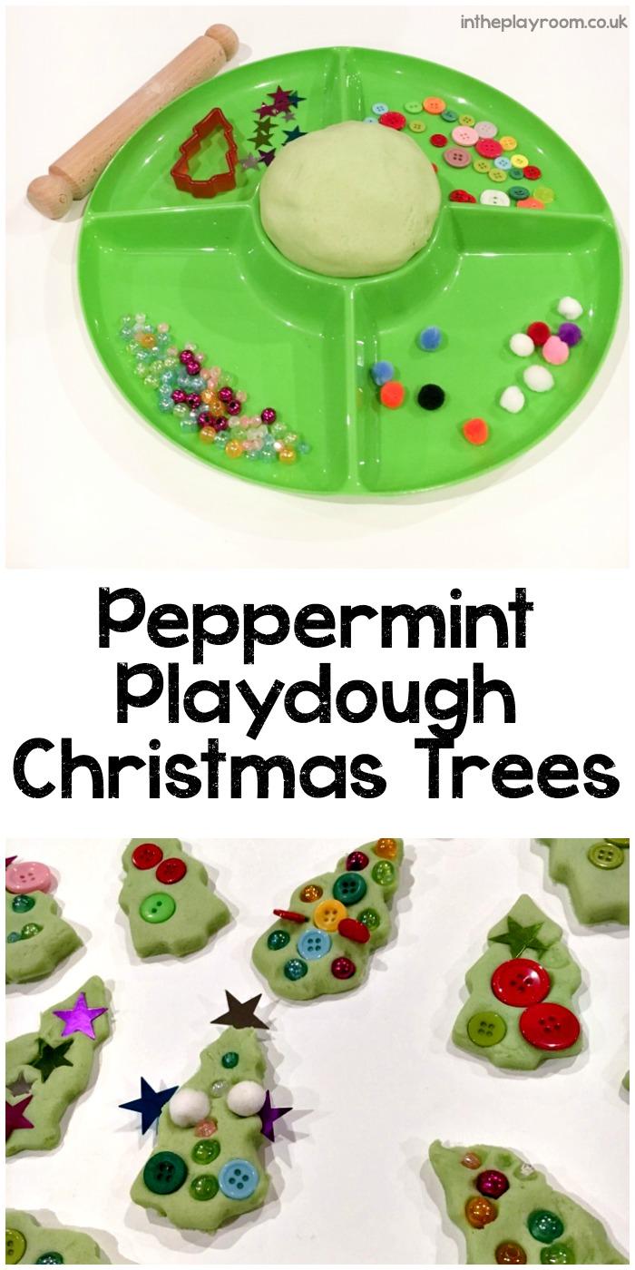 Peppermint Playdough Christmas trees invitation to play