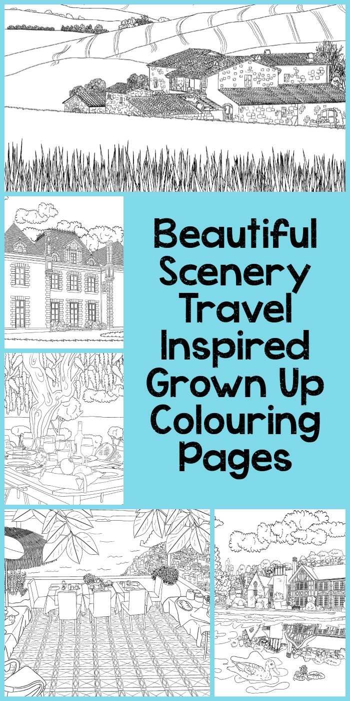 Beautiful scenery travel inspired grown up colouring pages based on real landscapes in Europe