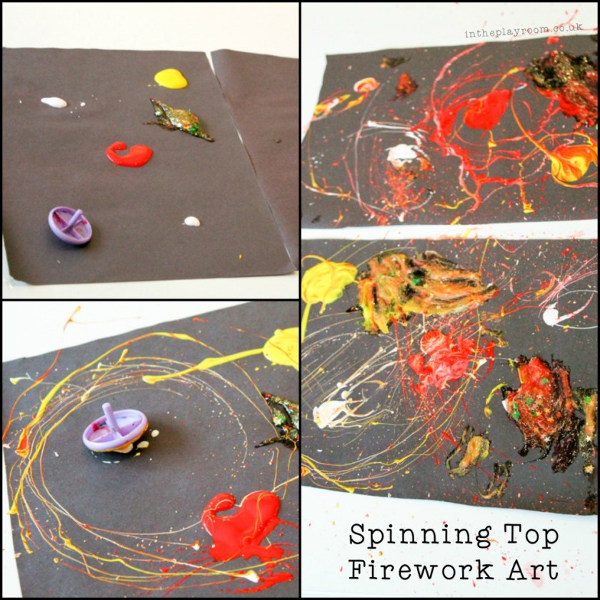 painting with spinning tops to make a fireworks picture