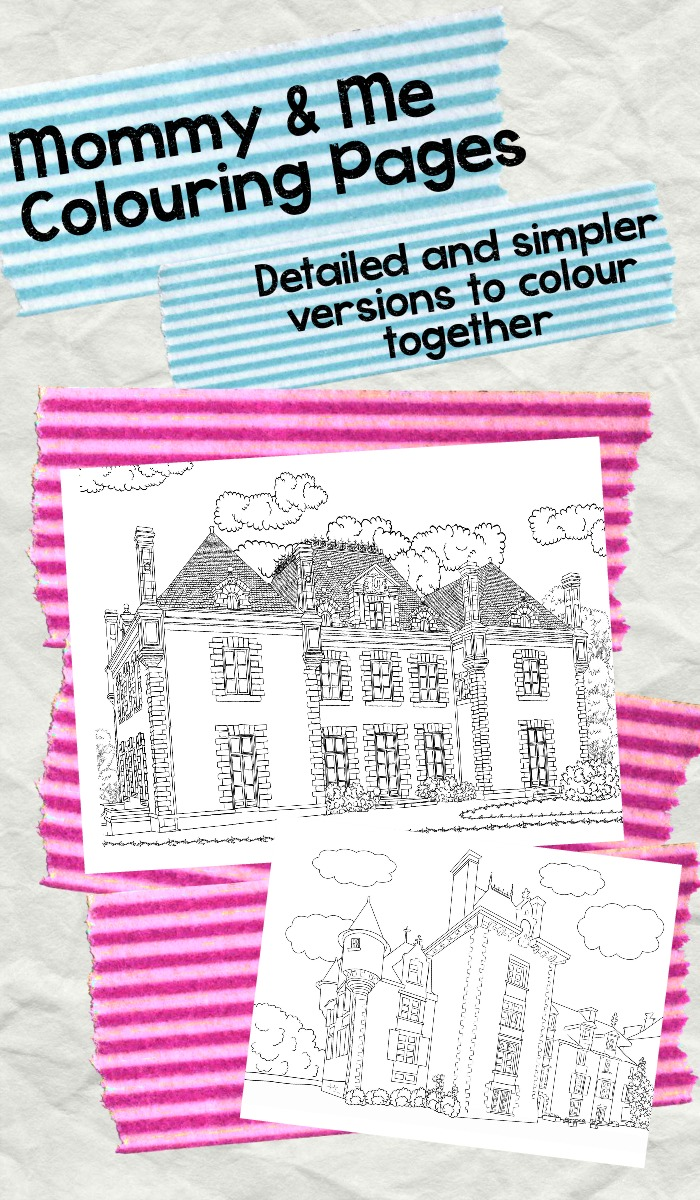 mommy and me colouring. Simpe and detailed versions of colouring pages on the same theme to colour together.