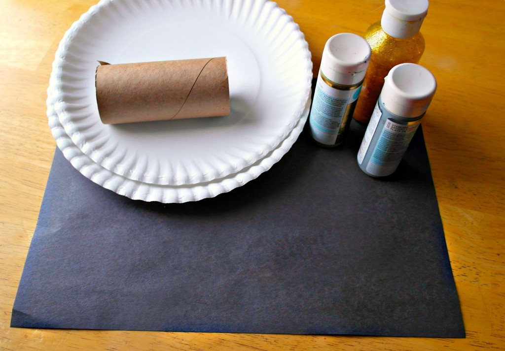 supplies for firework painting with toilet roll tube