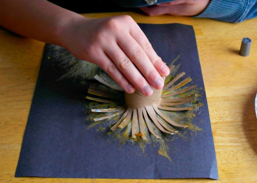 toilet roll stamp fireworks painting