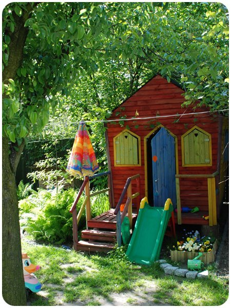 This colourful and inviting playhouse via Apartment Therapy