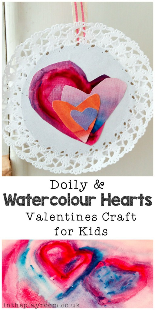 Doily and watercolor love heart valentines craft for kids. So simple and fun to make