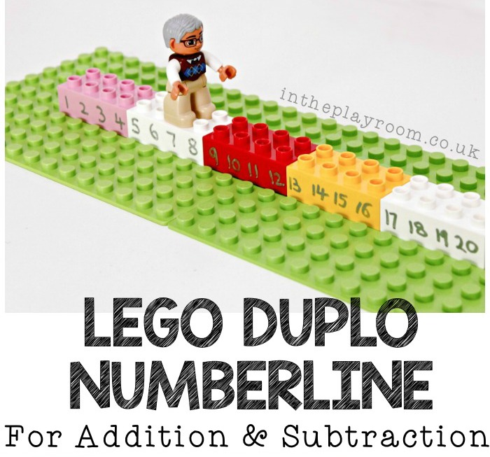 Lego Duplo number line for addition and subtraction up to 20