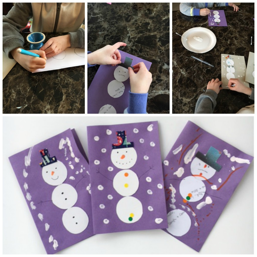 turn christmas cards into thank you cards. Upcycled snowman collage cards