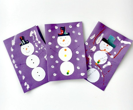 Snowmen cards kids winter craft