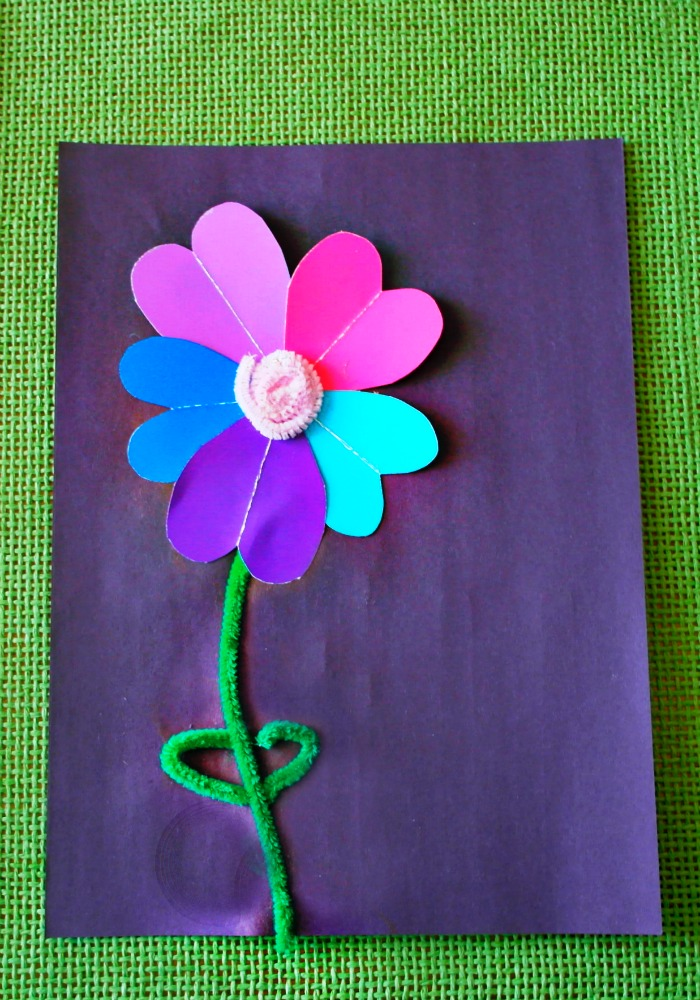 pipe cleaner and paint samples flower craft