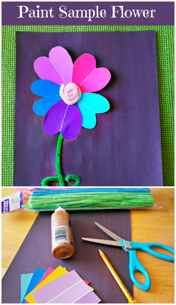 paint sample flower craft for kids. This would work really well for a mother's day card, or just as a spring time craft