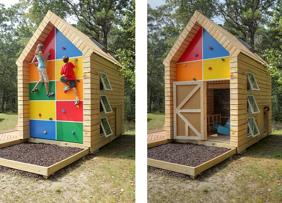 This eco friendly playhouse with climbing wall via ZeroEnergy