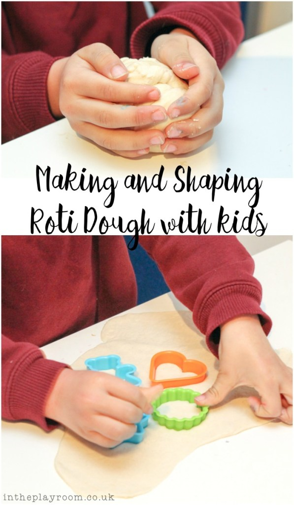 Making and shaping roti dough with kids. Play with it like playdough, but cook it into bread!