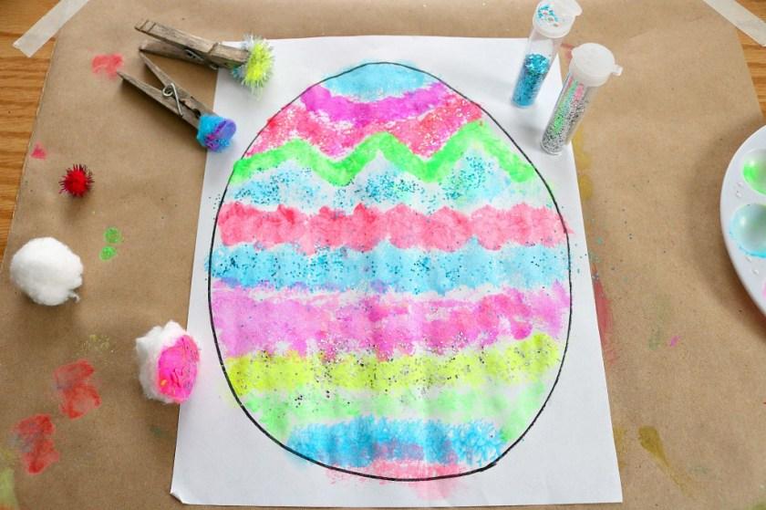 pom pom painted easter egg