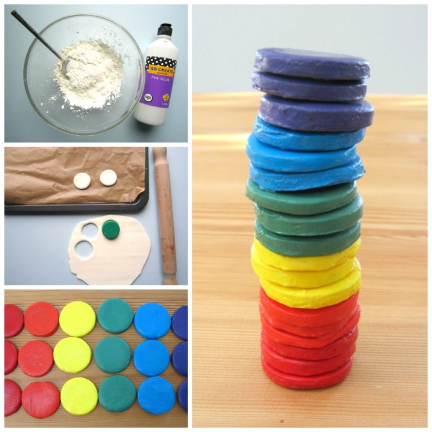 how to make your own clay, and create clay rainbow stackers for your kids to play with