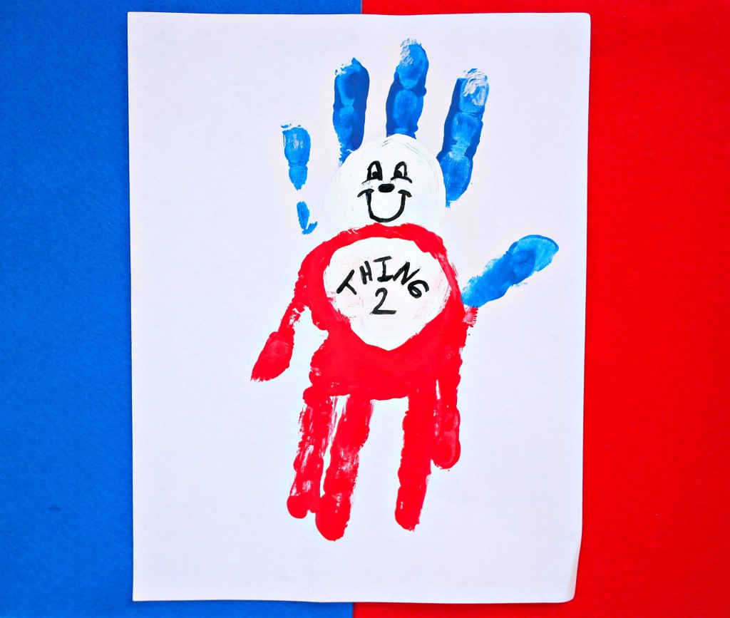 making dr seuss thing 1 and thing 2 handprints