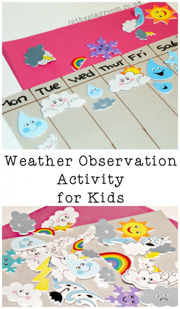 simple weather observation activity for kids using foam stickers.