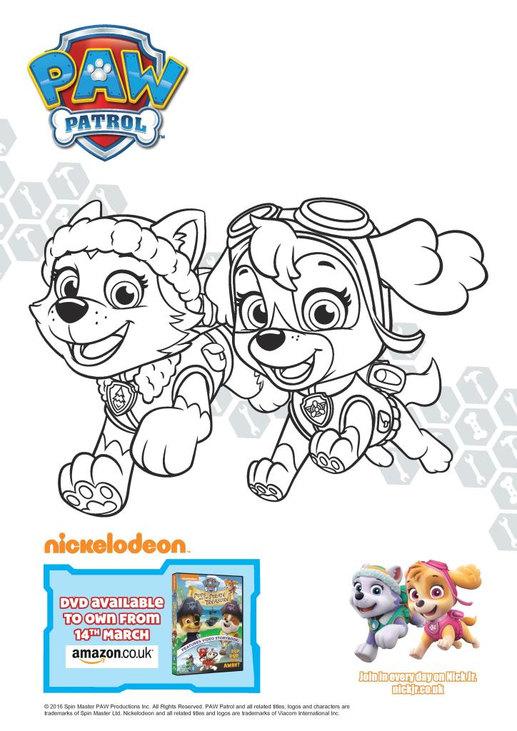 free printable paw patrol colouring pages