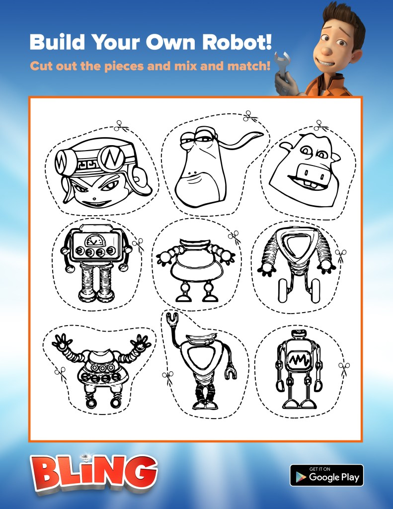bling mix and match robot printable activity sheet for kids
