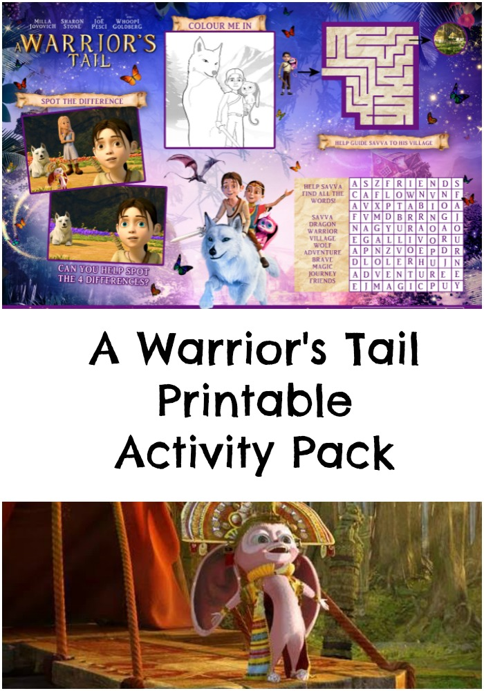 a warriors tail movie printable activity sheets