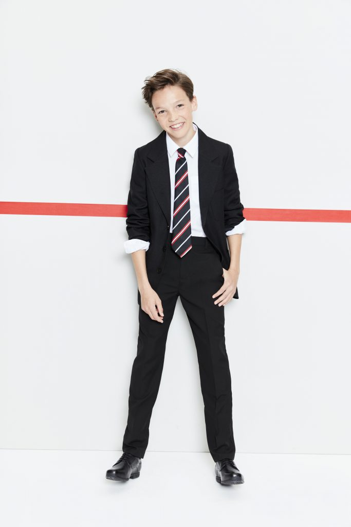 F&F BLACK BLAZER £10, 2PK BOYS LS EASYCARE WHITE SHIRTS £3.50, BOYS BLACK SLIM LEG FLAT FRONT TROUSER £4, OB LACE UP LEATHER £10