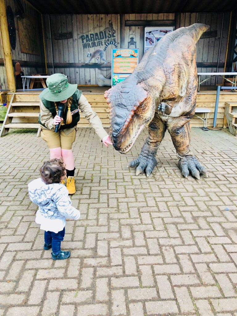 dino meet and greet at World of Dinosaurs at Paradise Wildlife Park