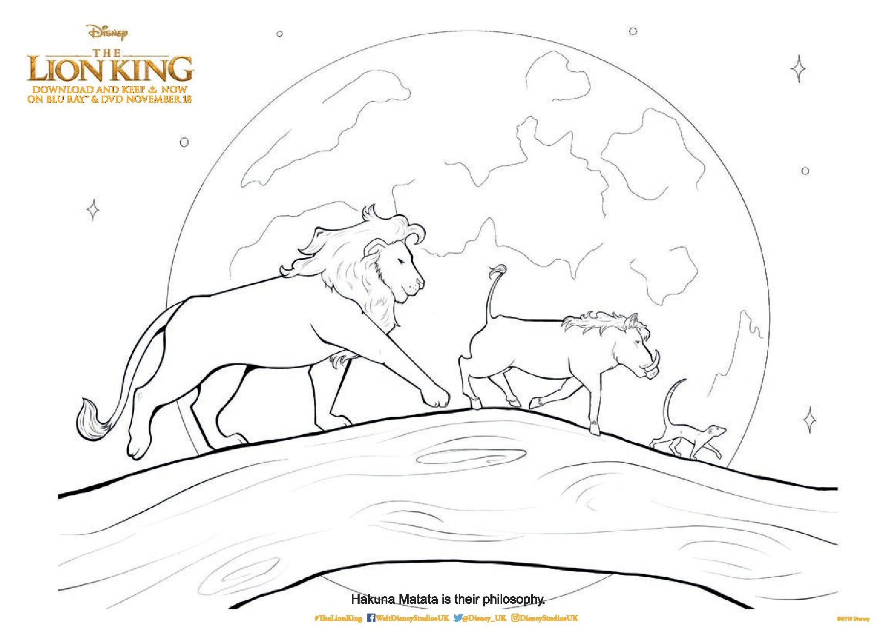 The Lion King Printable Colouring Pages And Activity