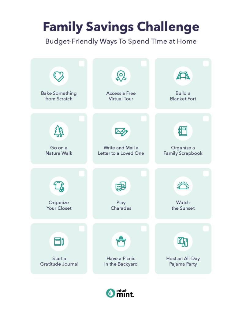family savings challenge budget friendly ways to spend time at home