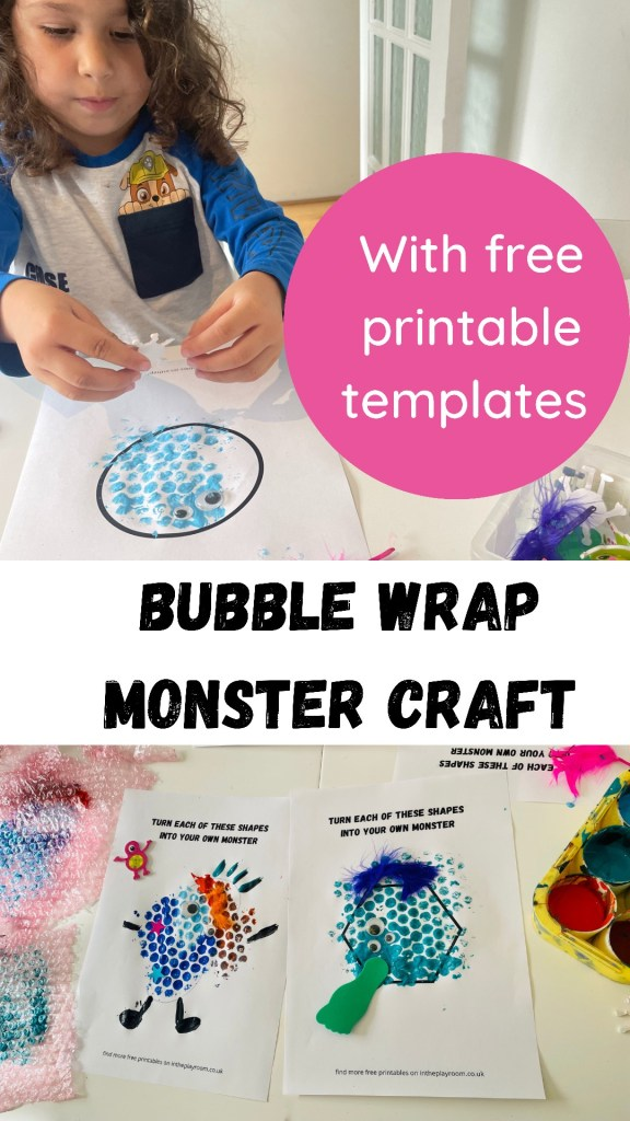 bubble wrap printed monster craft for kids using free monster template