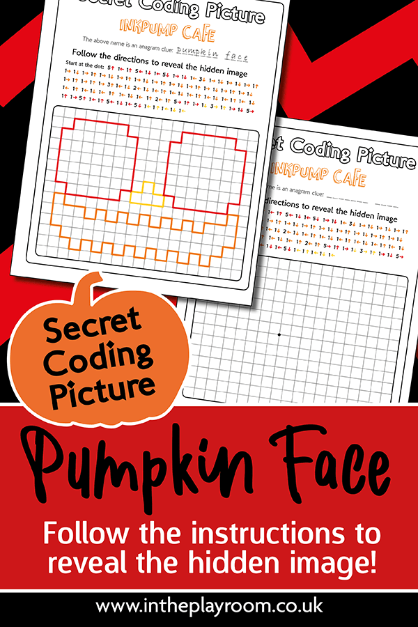 Halloween printable for kids Secret coding picture pumpkin face