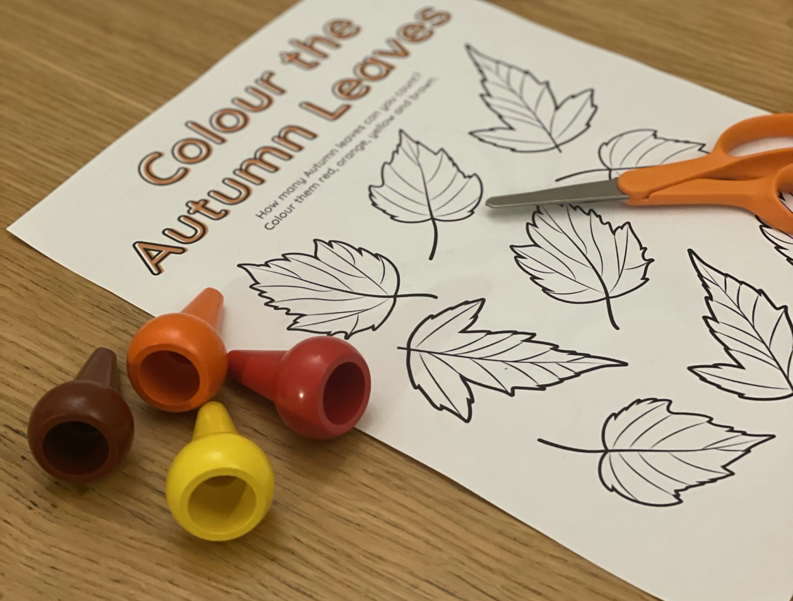 Free Autumn Printables: Autumn Leaf Coloring, Cutting and Sticking Fall Tree Craft