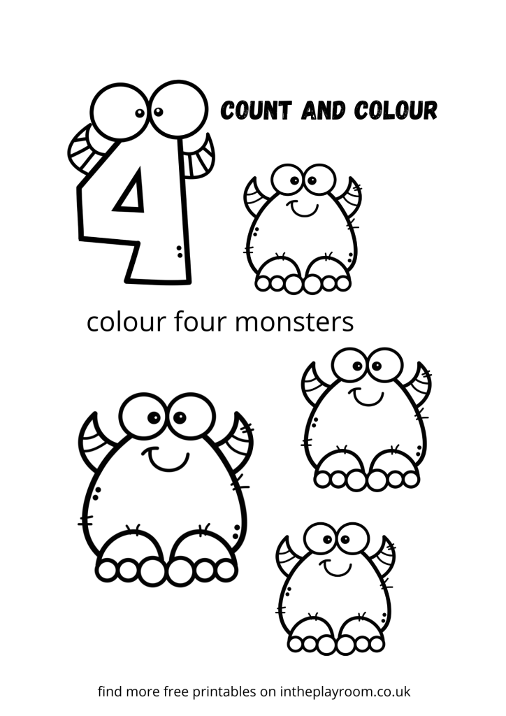 count and color monsters - four