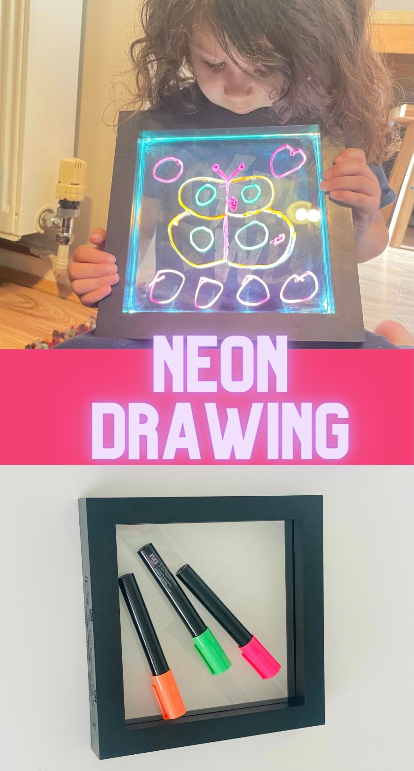 Neon message writing board or Neon drawing board for sensory play and mark making activities with kids