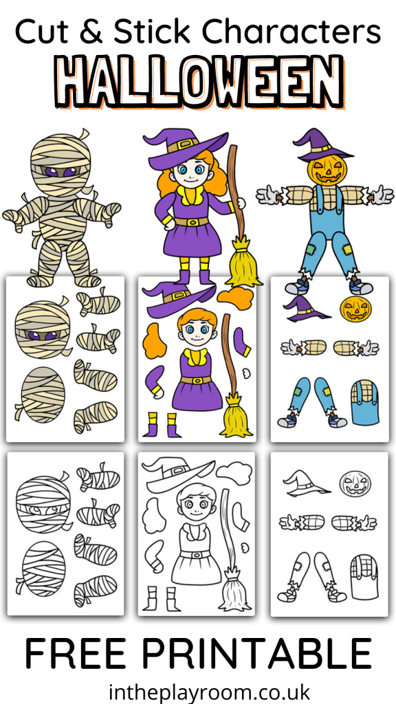 Halloween cut and stick characters printable mummy, witch, and pumpkin crafts for kids