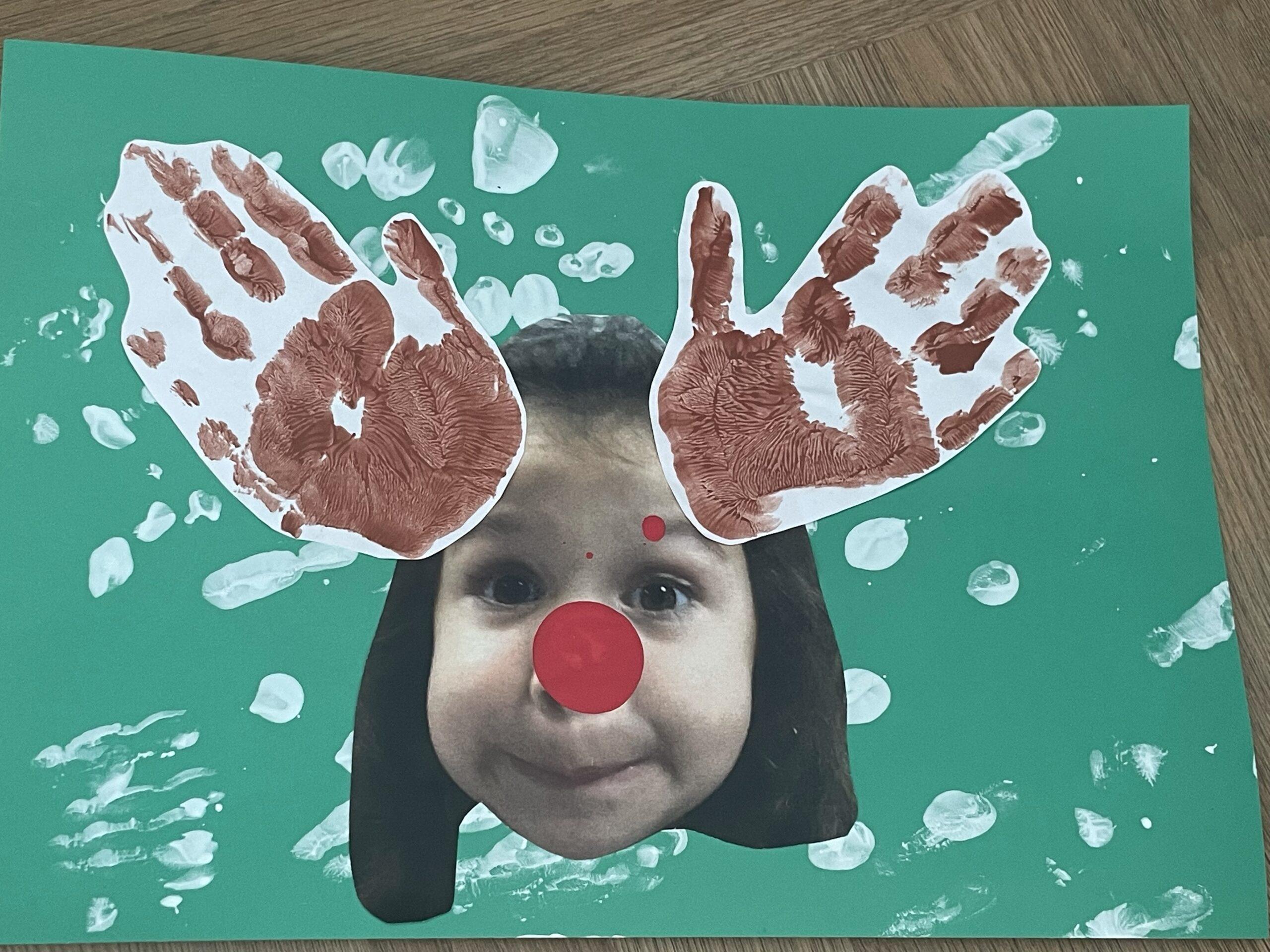 Handprint Reindeer Christmas Craft for Kids