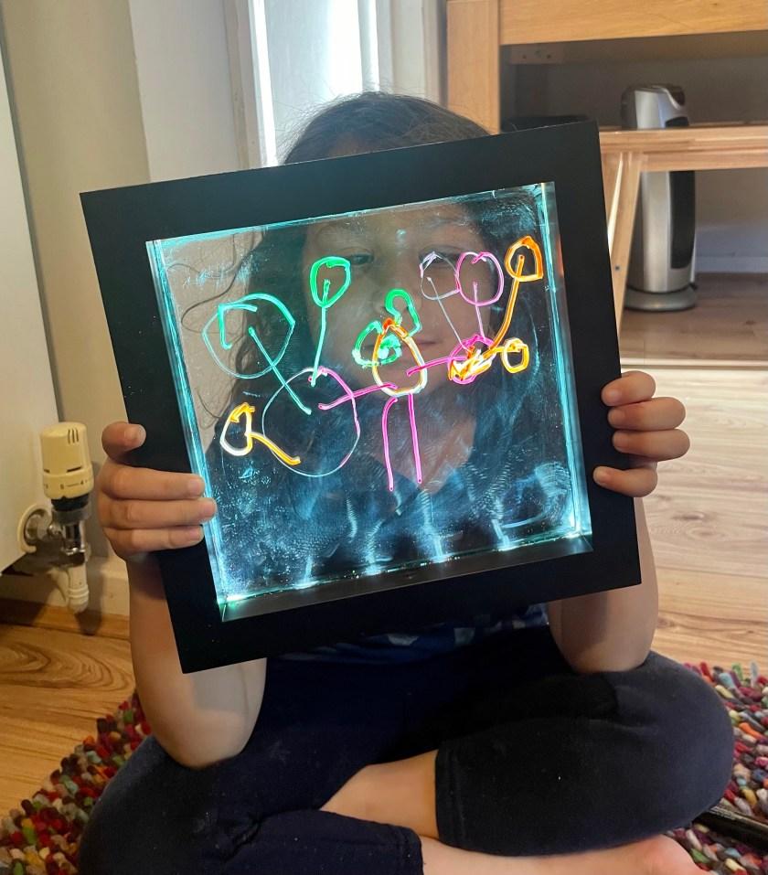 neon light up drawing board sensory play and mark making