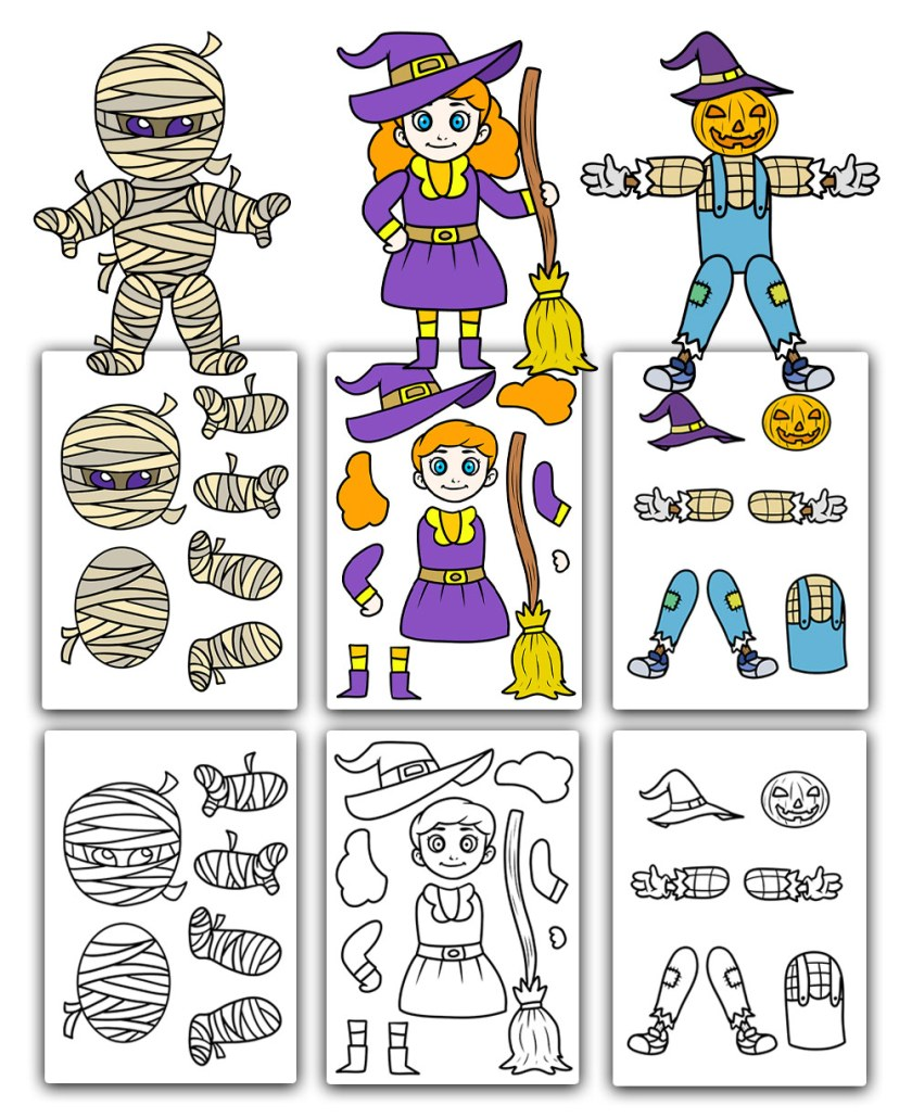 free printable cut out characters for Halloween with mummy witch and pumpkin man