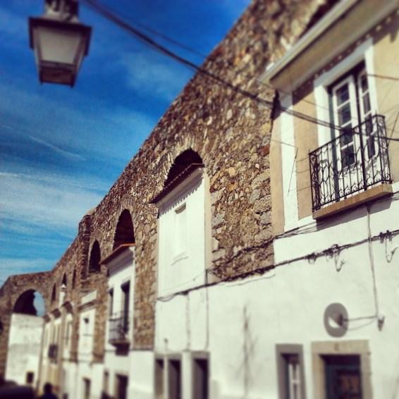 Evora, houses within antique Roman walls.