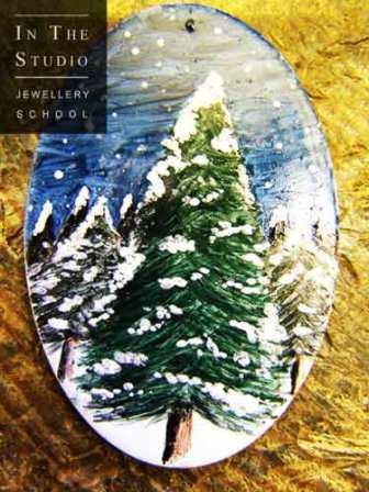 Pine-forest-enamelled-brooch
