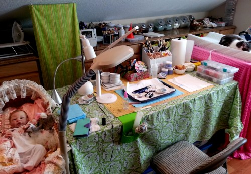 Amy's work table in her studio.