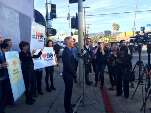 Councilmember Mitch O'Farrell speaks to the press in Hollywood.