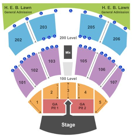Austin360 Amphitheater Seating Chart With Rows ...