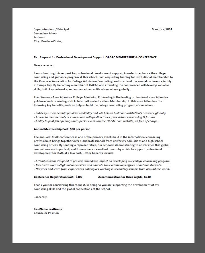 sample cover letter for travel grant application