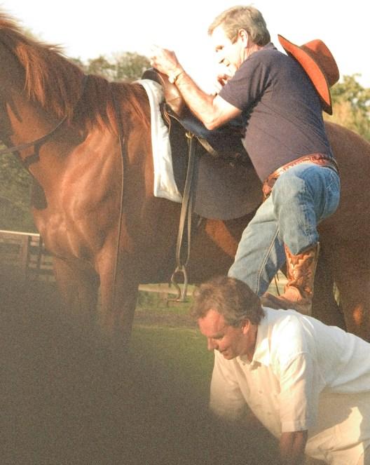 Allison Jackson blair_assists_bush_mount_his_horse