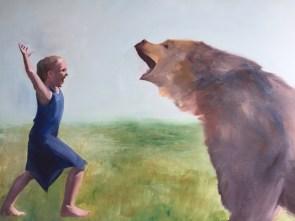 RESERVERET. 1. Maiken M. Bang. nr. 2 Charlotte Nyby. Elin Engelsen. 'Preditor', 90 x 100, olie og akryl på lærred, 2017, d.kr. 18.000,- - Kopi