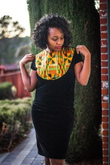 Velvet Kente Fabric Dress