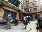 Leaving the Hotel IN Katmandu - Goodbye to Tibi (the guard dog :-)