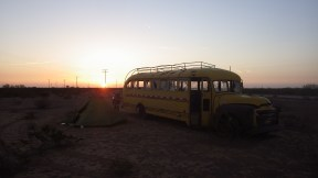 Camping by a abandoned bus. Somewhere near Pecos TX.